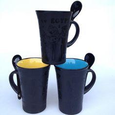 High Quality Colored Coffee Ceramic Coffee Mugs Milk Mugs with Spoon, JSF-Mugs-027