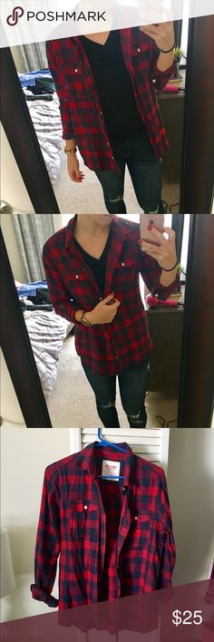 Red and blue flannel Super comfy and soft. Like new, only worn once. Size large but it fits like a medium. Therefore listed under medium. Mossimo Supply Co Tops Button Down Shirts