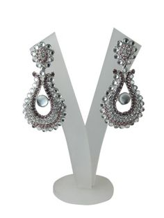 """""""Tarini Jewels"""" Silver Finished Dangling Earring Pink White American Diamond with Polki Beads Mogul Interior,http://www.amazon.com/dp/B00FOHEV5Y/ref=cm_sw_r_pi_dp_VFTusb1SKWHRRXKX"""