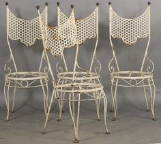 Lot:677: 4 WROUGHT IRON GARDEN CHAIRS ROUND SEATS, Lot Number:677, Starting…