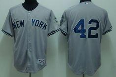 e743f5961bde3 Men s MLB New York Yankees  42 Mariano Rivera Gray Grey 2009 Logo Cool Base