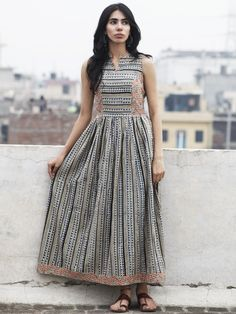 Beige Blue Maroon Black Long Sleeveless Hand Block Printed Cotton Dress With Gathers & Side Pockets - D72F591