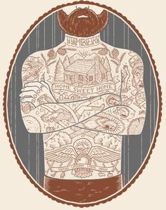 Beard illustration + tattoos + manly art