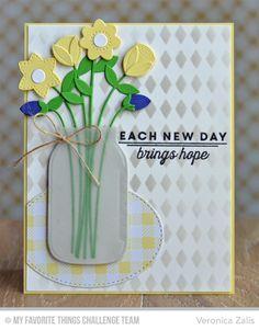 Fresh Cut Flowers Die-namics, Mason Jar Die-namics, Stitched Oval STAX Die-namics, LJD Spring Tulips Stamp Set, Gingham Background, Harlequin Stencil - Veronica Zalis  #mftstamps