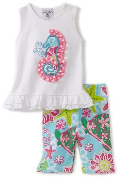 7ab04f641662 Mud Pie Baby-girls Newborn Lily Pad Seahorse Tunic Top and Capri Legging  $26.77 Toddler