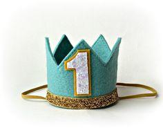 Hey, I found this really awesome Etsy listing at https://www.etsy.com/listing/188505624/aqua-felt-crown-medium-first-birthday