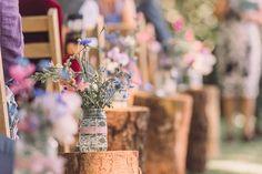 Aisle Decor Log Jam Jars Lace Ribbon Wildflowers Relaxed Outdoor Marquee Farm Wedding http://www.jenniferjanephotography.co.uk/