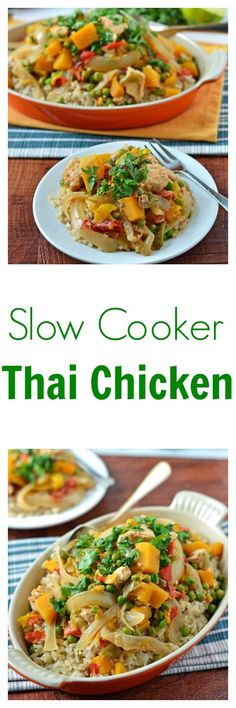 Slow Cooker Thai Chicken. All the Thai flavors you love with the ease of a crockpot!