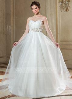 Corte imperial Escote corazón Tren de la corte Satén Tul Vestido de novia con Bordado Pluma Los Appliques Lentejuelas (002004768)