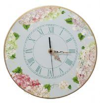 Hand Painted Pastel Hydrangea Clock