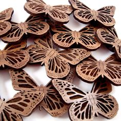 Monarch Butterfly Sustainable Wooden Magnet - Walnut Refrigerator Magnet. $4.00, via Etsy.