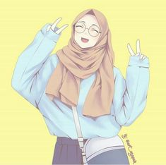 300 Gambar Kartun Muslimah Terbaik Kartun Lukisan Wajah Gambar