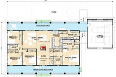 Flexible Country House Plan with Dual Porches - floor plan - Main Level - Basement Version Pole Barn House Plans, Garage House Plans, Pole Barn Homes, Ranch House Plans, New House Plans, Dream House Plans, House Floor Plans, Dream Houses, The Plan