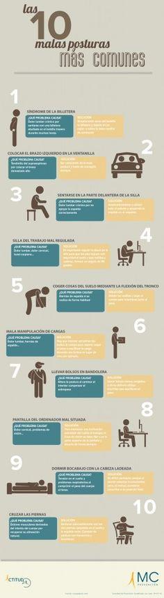 Las 10 malas posturas más comunes. Prevención de riesgos laborales. Hábitos de vida saludable. Ergonomía. Actitud 24. www.actitud24.com www.mc-prevencion.com