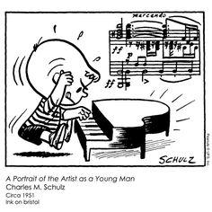 Inspired by the James Joyce novel, this early depiction of Schroeder shows the fiery dedication to his craft that he would exhibit throughout the decades of Peanuts.  Original strip from November 8, 1951.