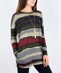 Love this éloges Olive Stripe Elbow-Patch Tunic by éloges on #zulily! #zulilyfinds