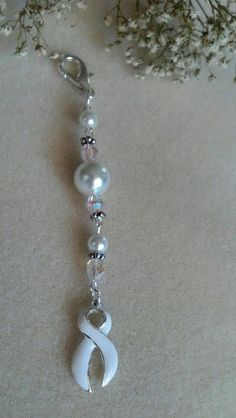 Lung Cancer Awareness Key Chain White Pearl by AtYourWittsEnd, $6.00