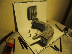 3D Illusion Sketchbook Drawings by Nagai Hideyuki