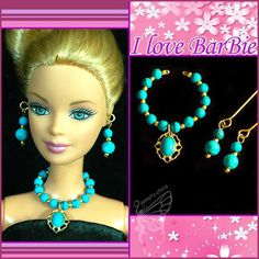 handmade barbie doll fashion jewelry set necklace earrings for barbie dolls