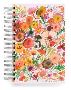 Flowers and Mushrooms Jumbo Journal Stationery Design, Paper Design, Cosmic, Whimsical, Stuffed Mushrooms, Recycling, Journal, Fall, Creative