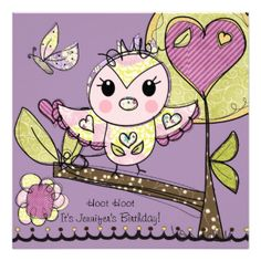 Pink and Purple Owls birthday invitations, so colorful and cute, great for kids who love owls! These owl theme birthday invitations are easy to customize with all your child's birthday party specifics. Features a lavender background with green and brown trees, purple hearts, a butterfly, and adorable pink and purple owls! #customized #kids #birthdays #owls #birds #animals #owl #birthday #hoot #owls #pink #and #purple #girls #birthday #invitations #parties #cute #fun #cheery #pink #flowers…