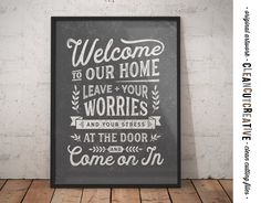 Welcome Sign - Leave Worries and Stress at Door - funny entrance mudroom hallway hall Printable Poster -PDF JPG PNG digital instant download by CleanCutCreative on Etsy