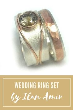 OMG, such a beautiful set, for her and for him. Golden quartz wedding ring set, his and hers complementary set, alternative diamond ring, rose gold engagement rings, rutilated quartz, Ilan Amir