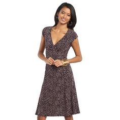 Chaps Dot Empire Dress - Petite