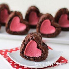 Raspberry Cheesecake Stuffed Brownie Hearts