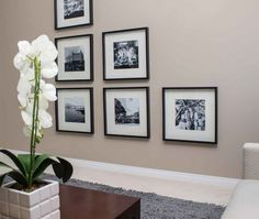 black and white photos in off centre graphic display Small Tables, Hanging Art, Home Look, Centre, Gallery Wall, Display, Black And White, Interior Design, Creative