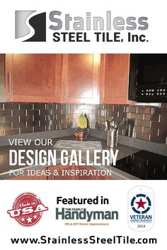 Modern Kitchen Design Gallery for ideas and inspiration- DIY Kitchen Remodel with stainless steel tiles