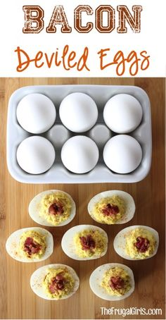 Bacon deviled eggs. 1 dozen boiled eggs. Mix egg yolks; 1 tbsp. Kraft Ranch with Bacon Dressing; 1/4 cup Mayonnaise; 1 tbsp. Hot Dog Relish; 1 1/2 tsp. Yellow Mustard; 1/8 tsp. Salt. Sprinkle 1/8 tsp. Pepper Paprika and 8 piece crumbled Bacon.