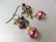 Acorn and Leaves Earrings- Burgundy Pearl with Brass and Crystal