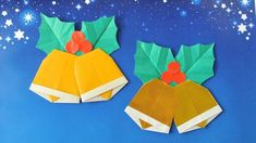 This video shows an instruction on how to fold an origami Christmas wreath. This is an origami poinsettia Christmas wreath. ■you will need Origami or wrappin. Origami Christmas Ornament, Origami Ornaments, Christmas Bells, Christmas Art, Gato Origami, Origami Fish, Origami Butterfly, Origami Cards, Origami Paper