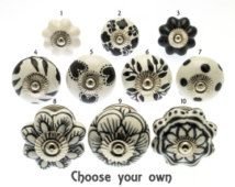 Choose your own black and white ceramic round and flower shape cupboard drawer knobs - single