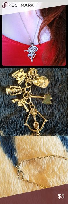 The Walking Dead Charm Necklace A TWD fan essential! 6 charm Walking Dead necklace. Lobster claw clasp. Excellent condition. Jewelry Necklaces