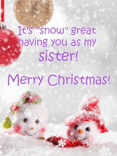 b9923c9595b Cute Snowman Merry Christmas Card for Sister