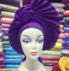 New African Auto-gele// Ready to wear gele, Nigerian gele African headpiece African Hair Wrap, African Head Wraps, African Lace, African Dresses For Women, African Attire, Hair Wrap Scarf, African Traditional Dresses, African Hairstyles, Hat Hairstyles