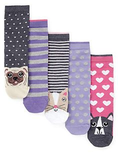 Multi 5 Pairs of Cotton Rich Animal Toe Socks