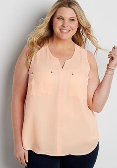 the perfect plus size sleeveless blouse with pockets | maurices