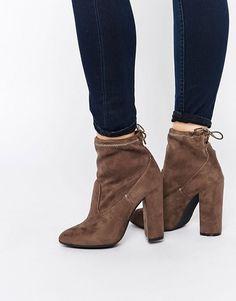 Public Desire | Public Desire Jenna Tie Back Black Heeled Ankle Boots