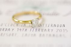 princes cut solitaire yellow gold engagement ring beach wedding valentines day