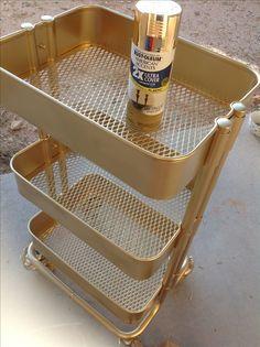 YouTube: Pinkstrawberryz for more tutorials https://www.etsy.com/shop/Mushypinkstrawberryz?ref=hdr_shop_menu IKEA Raskog cart in gold spray paint tutorial Raskog storage ideas gold decor office craft