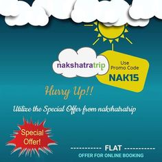 Utilize the special offer by using the coupon code -NAK15 while booking your online bus tickets only at #Nakshatratrip. Log in @ - www.nakshatratrip.com.