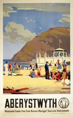 Canvas Print (other products available) - Produced for the Great Western Railway (GWR) to promote the Welsh coastal resort of Aberystwyth. The artwork is by Herbert Alker Tripp - Image supplied by National Railway Museum - Canvas Print made in Australia Posters Uk, Beach Posters, Railway Posters, Retro Posters, Train Posters, British Seaside, British Travel, Travel Uk, British Isles
