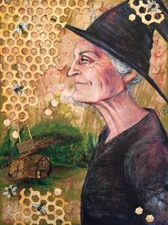I Aten't Dead, mixed media on canvas board A tribute to the Discworld character, Granny Weatherwax, created by Sir Terry Pratchett. I Aten't Dead Discworld Characters, Nerd Crafts, Mixed Media Scrapbooking, Terry Pratchett, Mixed Media Canvas, Mistress, Wicca, Fan Art, Deviantart