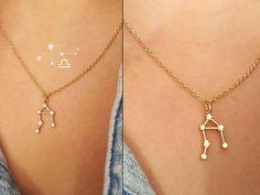 Collar de la constelación de la libra / 18 k oro, plata / capas collar / zodiac firmar el collar, collar de la joyería, regalo, encargo de la boda
