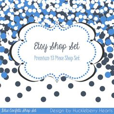 Blue Confetti Etsy Shop Set with Banners, Avatars, Business Card, Label, Facebook Cover Image, and Product Sticker Image