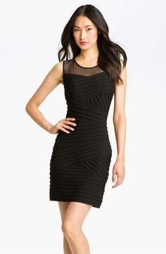 Bridesmaid-Calvin Klein Illusion Yoke Pleated Jersey Dress
