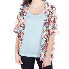 California Gypsy Juniors Short Sleeve Floral Kimono